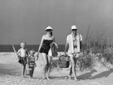 Family Walking on Beach, Carrying Fishing Poles and Portable Cooler Photographic Print