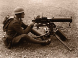 Soldier Aiming Machine Gun Photographic Print