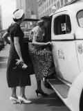 Two Women Getting in a Taxi on an Urban Street, 1950's Photographic Print