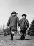 Boy and Girl Holding Hands, Walking To School Photographic Print