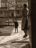 Mother on Porch Seeing Son Off To School, Rear View Photographic Print
