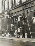Group of Painters on Ladders Photographic Print