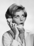 Woman Talking on Phone, Looking Surprised Photographic Print