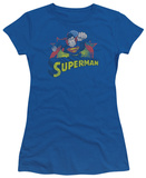 Juniors: Justice League America-Superman Rough Distress Shirts