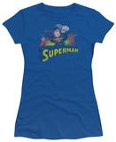 Juniors: Justice League America-Superman Rough Distress Shirts