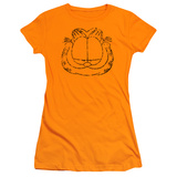 Juniors: Garfield-Smirking Distressed Shirt