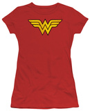 Juniors: DC-Wonder Woman Logo Distressed Shirt