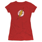 Juniors: Justice League America-Destroyed Flash Logo T-shirts