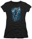 Juniors: Justice League America-Black Lightning Bolts Shirt