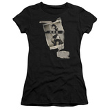 Juniors: Bettie Page-Newspaper & Lace T-Shirt