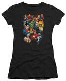 Juniors: Justice League America-The League's All Here T-shirts