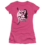 Juniors: Bettie Page-Gam Guitar T-Shirt