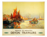 Service to Industry, Devon Trawlers, BR (WR), c.1950 Prints