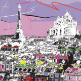 Tour Eiffel, Sacré Coeur Print by  Tandem