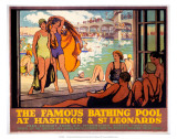 The Famous Bathing Pool at Hastings and St Leonards, LMS, c.1920s Posters