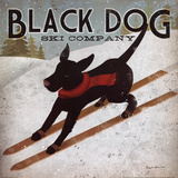 Black Dog Ski Poster by Ryan Fowler