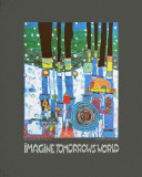 Imagine Tomorrows World (blue) Kunstdrucke von Friedensreich Hundertwasser
