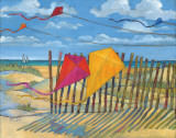 Paul Brent - Beach Kites Yellow - Art Print