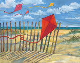 Beach Kites Red Posters by Paul Brent