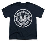 Youth: Long Sleeve: Battle Star Galactica-Scratched BSG Logo T-shirts