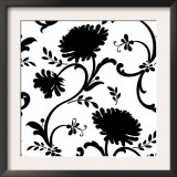 Black and White Floral Print with Three Blossoms Print