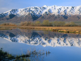 Wellsville Mountains Reflected in Little Bear River in Early Spring, Cache Valley, Utah, USA Photographic Print by Scott T. Smith