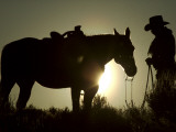 Cowboy With His Horse at Sunset, Ponderosa Ranch, Oregon, USA Fotografie-Druck von Josh Anon
