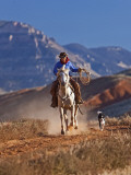 Cowgirl Riding a Trail in the Big Horn Mountains, Shell, Wyoming, USA Photographic Print by Joe Restuccia III