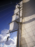 Crew Member Climbing Mast of the Star Clipper, Caribbean Photographic Print by Dave Bartruff