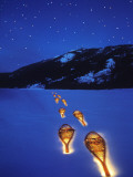 Snowshoes Lighted By Flashlight Across Lake Mcdonald, Glacier National Park, Montana, USA Stampa fotografica di Chuck Haney