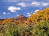 North Six Shooter Peak Framed With Yellow Fall Cottonwoods, Utah, USA Photographic Print by Bernard Friel