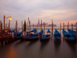 Anchored Gondolas at Twilight, Venice, Italy Photographic Print by Jim Zuckerman