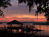 Dock at Sunrise Along the Intracoastal Waterway, Savannah, Georgia, USA Photographic Print by Joanne Wells