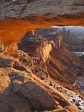 Landscape Through Mesa Arch at Sunrise, Canyonlands National Park, Moab, Utah, USA Photographic Print by Walter Bibikow