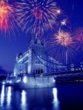 Fireworks Over the Tower Bridge, London, Great Britain, UK Photographic Print by Jim Zuckerman