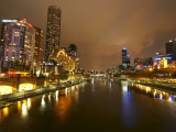 Eureka Tower and Yarra River at Night, Southbank, Melbourne, Victoria, Australia Photographic Print by David Wall