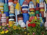 Colorful Buoys on Wall, Rockport, Massachusetts, USA Papier Photo par Adam Jones