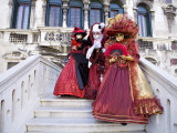 Women Dressed in Costumes For the Annual Carnival Festival  Venice  Italy