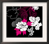 White Floral on Black Poster