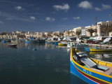 Harbor and Traditional Luzzu Fishing Boats, Marsaxlokk, Malta Photographic Print by Walter Bibikow