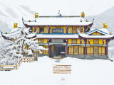 Snow Falls on Dragon King, Huanglong Temple, Huanglong National Park, Sichuan Province, China Photographic Print by Charles Crust