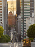 Cable Car Crossing California Street With Bay Bridge Backdrop in San Francisco, California, USA Photographic Print by Chuck Haney