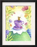 Mouse Hanging out on a Purple Teacup in a Wild Flower Forest Posters
