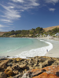 Boat Harbour Beach and Orange Lichen on Rocks, North Western Tasmania, Australia Photographie par David Wall