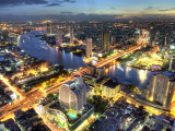 Cityscape at Dusk, Bangkok, Thailand Photographic Print