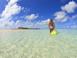 Rear View of Woman With Mask, Kadhdhoo Island, Laamu Atoll, Southern Maldives Photographic Print by Stuart Westmorland