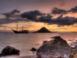 Sunset on Anchored Phinisi Schooner, Komodo National Park, Indonesia Photographic Print by  Jones-Shimlock