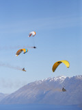 Paragliders Over Mountains, Queenstown, South Island, New Zealand Photographic Print by David Wall