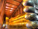 Giant Reclining Buddha Inside Temple, Wat Pho, Bangkok, Thailand Photographic Print