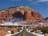 Route 24 in Winter, Capitol Reef National Park, Torrey, Utah, USA Photographic Print by Walter Bibikow